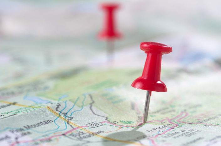 map with red pushpin