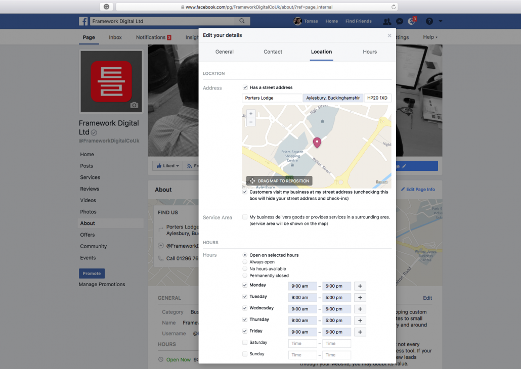 How to remove the map from Facebook business page - Framework Digital®