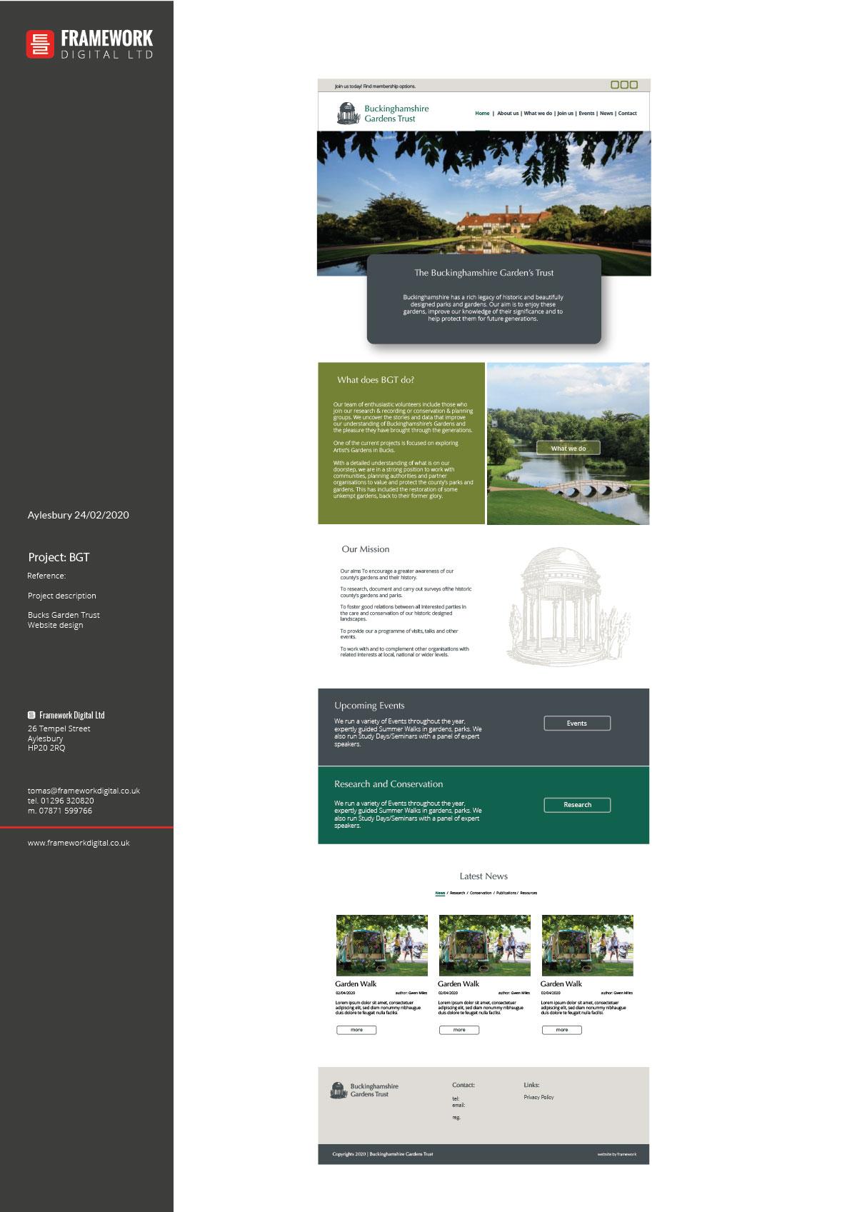 web design - home page for bucks gardens trust