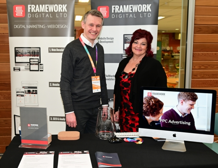 Tomas Pukalski and Moira Hamer at Framework Digital exhibition stand in Aylesbury