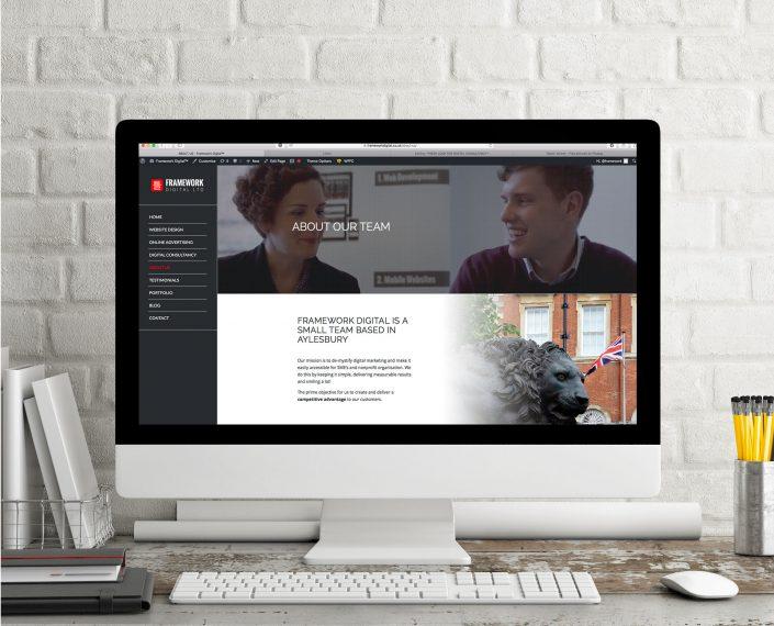 Computer screen with Framework Digital website