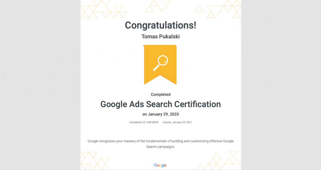 google ads certification for tomas pukalski