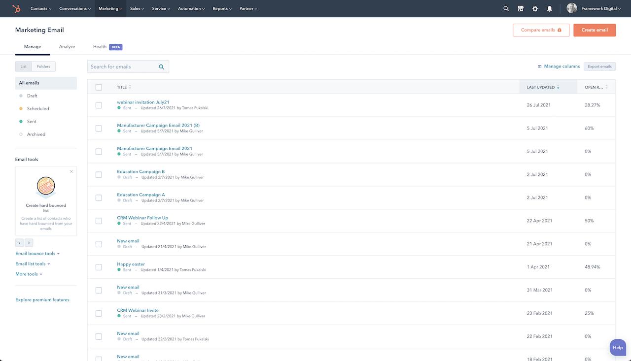 hubspot dashboard emails